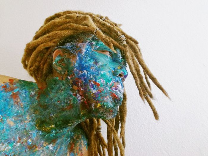 Close-Up Of Man With Painted Body