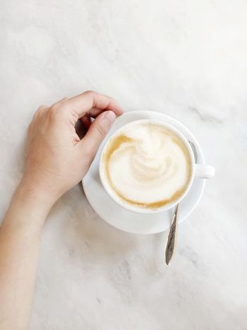 Soya cappuccino Breakfast Breakfast Time Morning Morning Rituals Marble Marble Table Human Hand Frothy Drink Drink Cappuccino Coffee Cup High Angle View Hot Drink Non-alcoholic Beverage