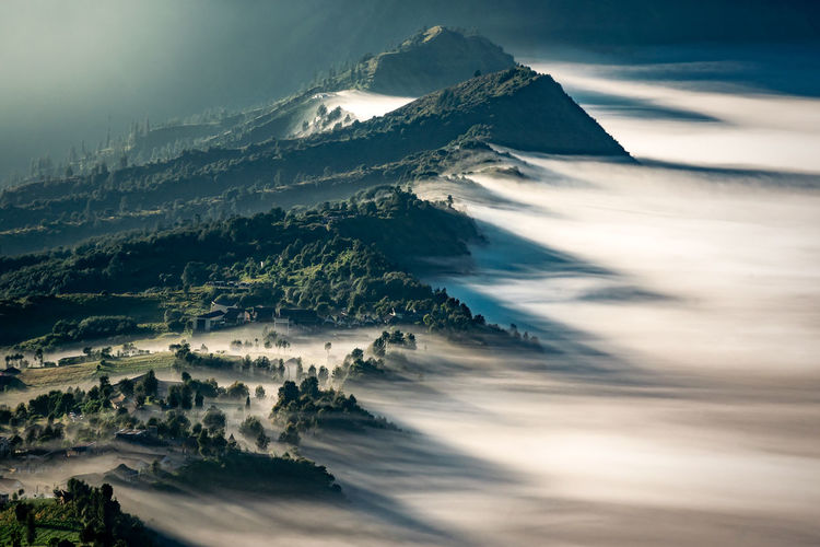 Cemoro Lawang View Mountain Landscape Scenics Nature No People Tree Snow Outdoors Beauty In Nature Winter Day Sky