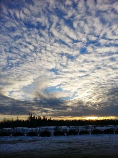 Winter sky in Alaska Enjoying Life,North pole ,cold ,sunset.