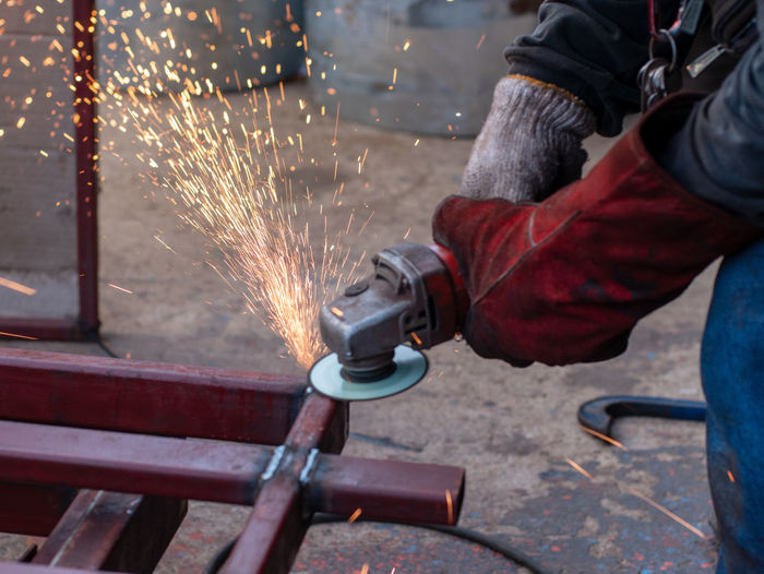 Close-up of worker welding metal