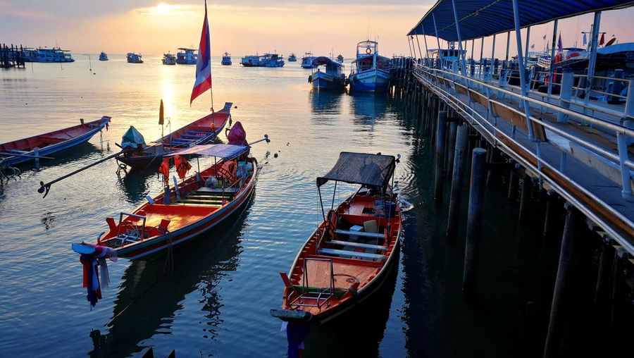 Kohtao Thailand Gondola - Traditional Boat Water Nautical Vessel Sea Reflection Sky Architecture