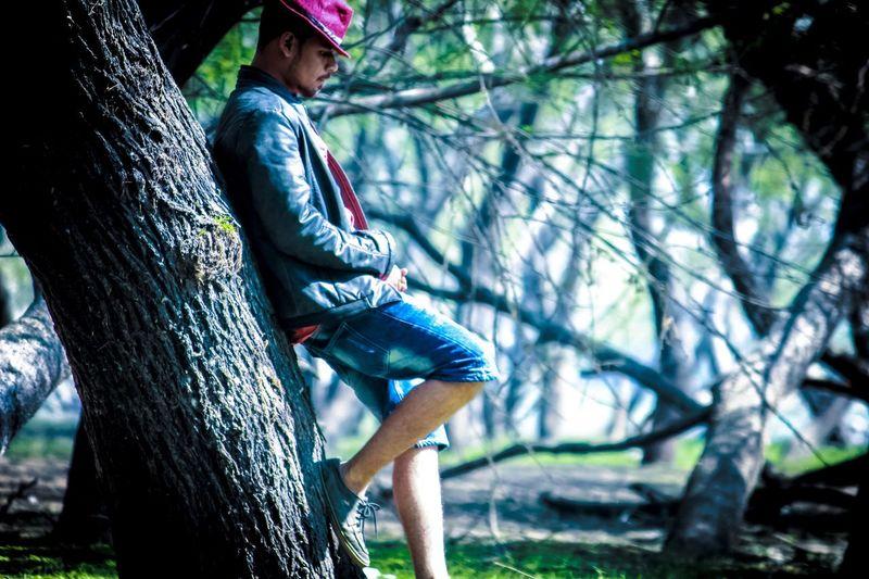 Full length of man sitting on tree trunk