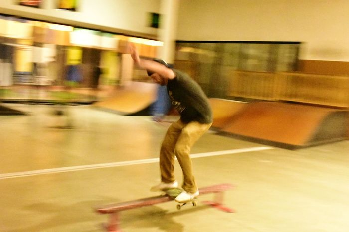 Motion Blurred Motion Activity One Person Lifestyles Speed One Man Only Sport Exercising Adult Healthy Lifestyle People Adults Only Men Indoors  Only Men Real People Human Body Part Sports Clothing Day Blurry Background Action Shot  Skateboarding Photography Skater Boy Skateboard