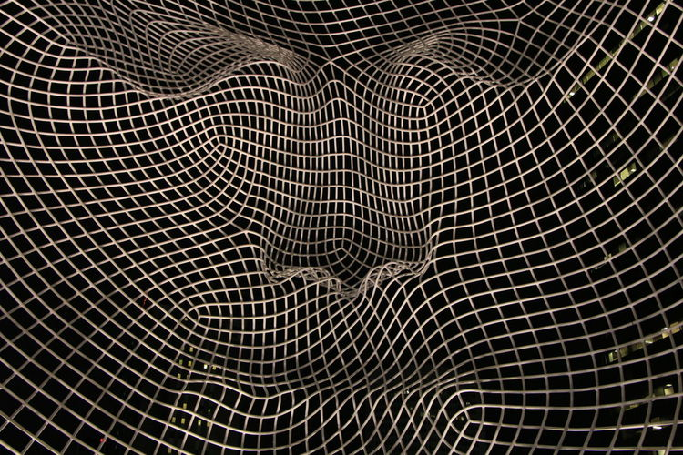 Inside Ms. Wonderland's head. Pattern Full Frame Backgrounds No People Indoors  Close-up Abstract Textured  Complexity Design High Angle View Detail Still Life Netting Checked Pattern Selective Focus Black Background Wire Wire Mesh Black Color Silver Colored Tangled
