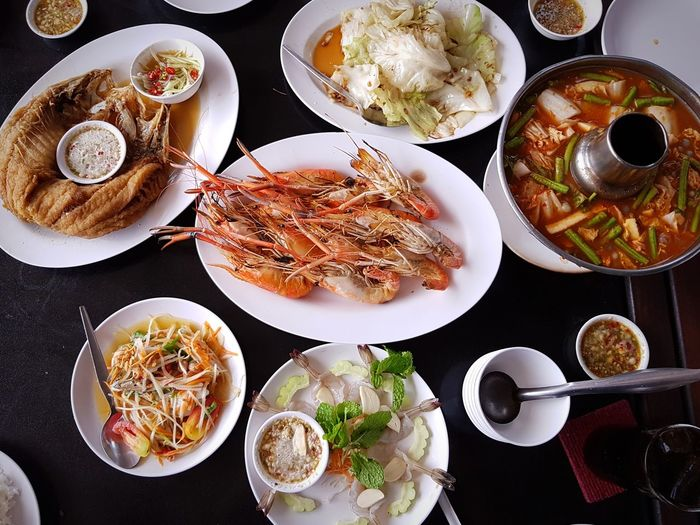 Thai food is ALWAYS my BEST Thai Food Thailand Prawn Plate Table Directly Above High Angle View Close-up Food And Drink Shrimp - Seafood Seafood
