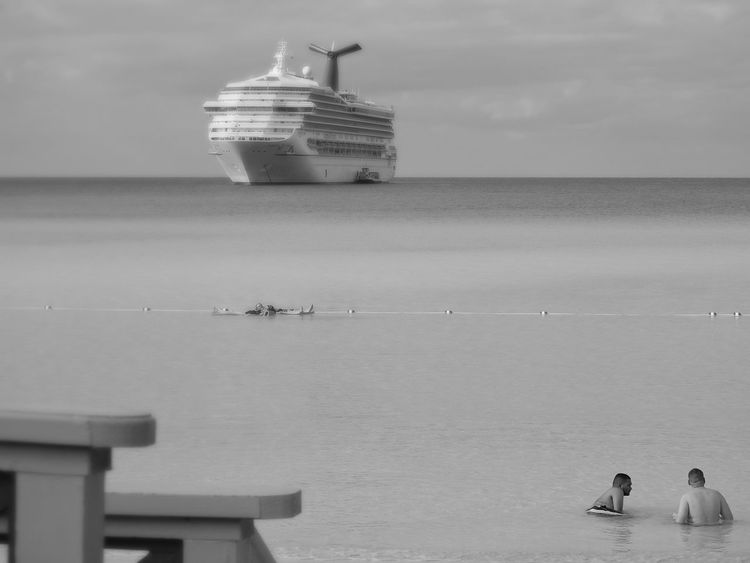 Atlantic Ocean Half Moon Cay Bahamas Fun In The Sun People Beachside Nautical Vessel Cruise Ship Black And White Photography