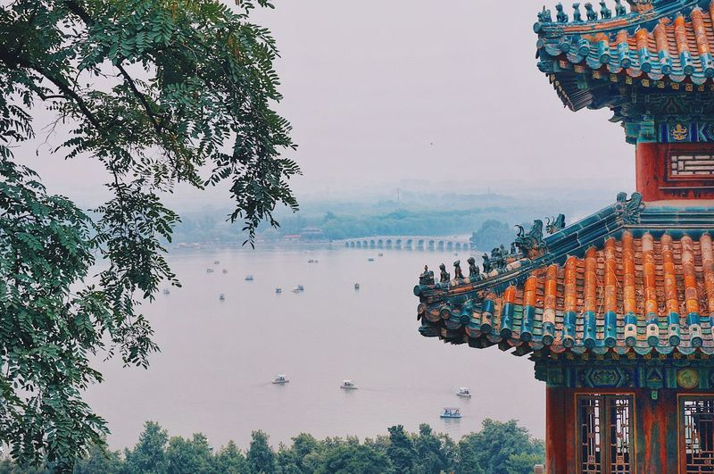 The architecture and the bridge Chinese Style 攝影 旅遊 旅行 景點 北京 Bridge 古蹟 建築 中國 頤和園 Attraction Tourism Sightseeing ASIA China Travel Ancient Architecture Historic Historical Building Tree Water Plant Sky Nature Architecture EyeEmNewHere No People Building Outdoors