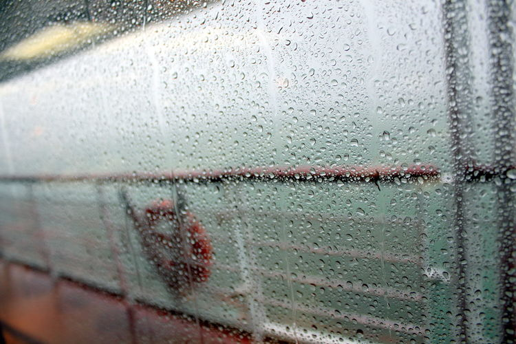 Backgrounds Boat Close-up Day Drop No People Ocean On A Board RainDrop Safety Ring Sea Ship Water Wet Window EyeEmNewHere Go Higher