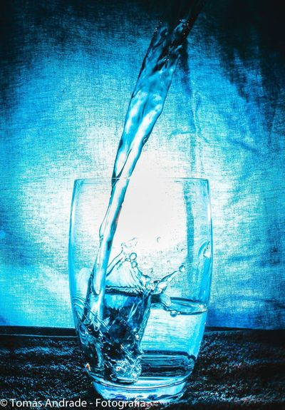 Drinking Glass Blue Studio Shot Food And Drink No People Indoors  Drink Close-up Water Freshness Day Dissolving