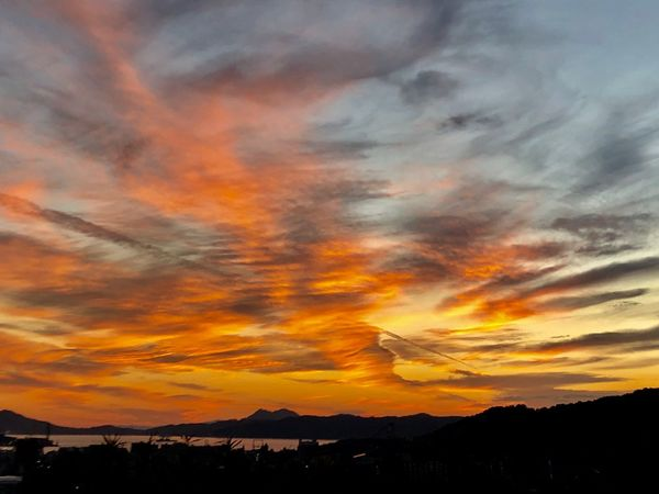 A Beautiful Sunset Sky. (181102-181126) Sky Beauty In Nature Cloud - Sky Scenics - Nature Orange Color Sunset Silhouette Nature Environment Mountain Tree Dramatic Sky Cloudscape Idyllic Tranquility Tranquil Scene Outdoors No People