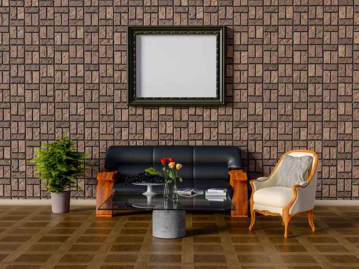Mock up frame in living room. Chair Seat Plant Brick Wall Architecture Wall - Building Feature Brick No People Wall Absence Indoors  Flooring Built Structure Potted Plant Home Interior Domestic Room Furniture Nature Empty Building Apartment Living Room