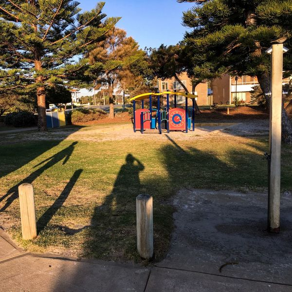 Travel Destinations Shoalwater Islands Marine Park Building Exterior Playground Shady Shades And Shadows Shadow Bird On Post Wooden Post Open Shower Water Tap Wash Area October 2016 Tree Plant Sunlight Shadow Nature Park Park - Man Made Space Outdoors Day
