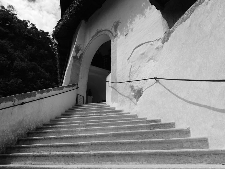 Architecture Built Structure Day Eremo Di San Romedio Hand Rail Low Angle View No People Outdoors Railing Sky Staircase Stairs Stairway Steps Steps And Staircases The Way Forward