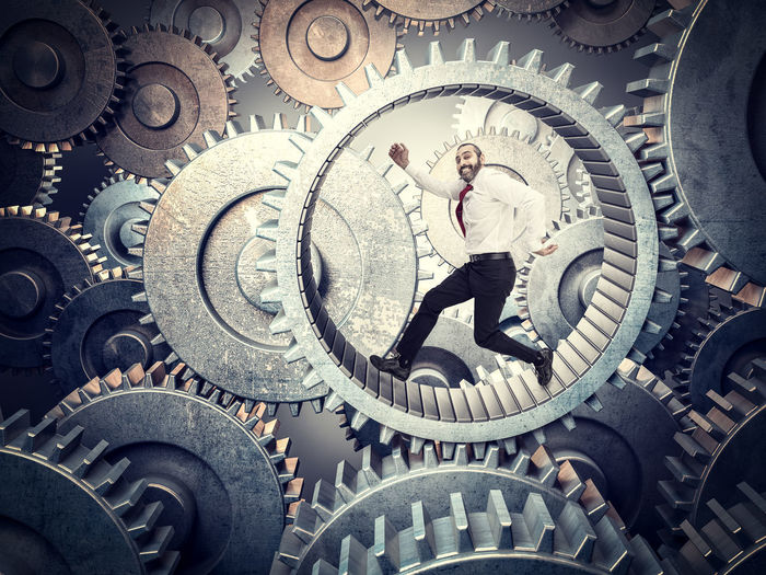 Worker Run Man Business Businessman Hamster Slave Competition Wheel Challenge Hurry Job Race Routine Work Speed Hardworking Time Manager Stress Gear Career Motivation Power Caucasian Concept Loop Teamwork Unsuccessful Exhausted Success Workaholic Rivalry Metal 3D Engine
