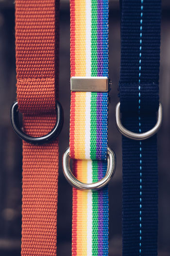 Close-up of colorful belts