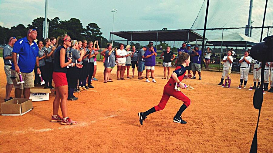 Girl Power My Daughter 10U Girls Travel Softball Mobile Alabama This is the tournament that our girls won to qualify for The Softball World Series that takes place in Florida. Teams from all over the county compete to take part in that tournament. ESPN televises the event. Our girls were so extremely happy. They turned out to go all the way and place in the World Series. Picture is of my child being handed her trophy and running back to her teammates. Sports Are Her Life! She Is BEAST At Sports! I Love It ❤ Being Proud Sport She Outplays And Outruns Any Boyshe's Ever Been Put Up Against 1st Season Ever Playing Girls Softball She Played Boys Baseball From Age 4to Age 10 Making All Stars,always First Pick. Unhappily, She Switched To Girls Fast Pitch Softball....but Misses Hard Ball A Lot! HOW DO I EXPLAIN TO MY LITTLE GIRL THAT GIRLS ARE NOT ALLOWED TO BE IN MAJOR LEAGUE BASEBALL OR COLLEGE BASEBALL??? Why Can't It Be Her Dream To Play At That Level If That's What She Wants? If She Can Hang With The Boys , She Should Be Allowed To Play This Is Modern Feminity!! Some Girls Like Playing Hard Competition Day Tom Boy Is Still Girly! BallPark Running Uniform