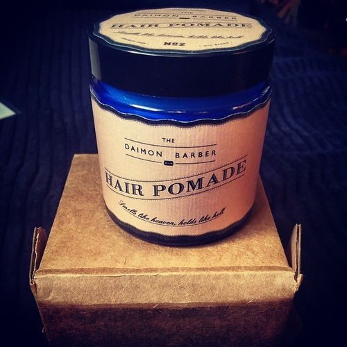 Its here @colledge1994 Lets work our hair game. This pomade @thedaimonbarber is one of the best ive seen. Love the packaging and the amazing detail on typography. Pomade Hair No2 Thedaimonbarber blue 100g london typography