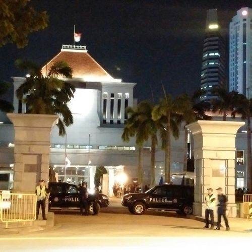 Parliament House of Singapore where the lying in state of the late Mr Lee Kuan Yew was laid. Notice that the national flag atop the building was flown at half mast Parliament House Lky Singapore