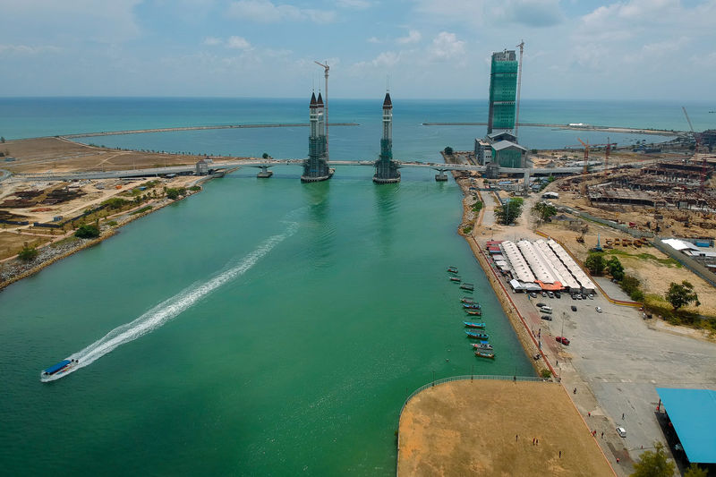 drawbridge under construction Water Sea Architecture Built Structure Sky Horizon Horizon Over Water Building Exterior Scenics - Nature Nature Land Day High Angle View Cloud - Sky No People Beauty In Nature Tower Beach Travel Destinations Outdoors Turquoise Colored