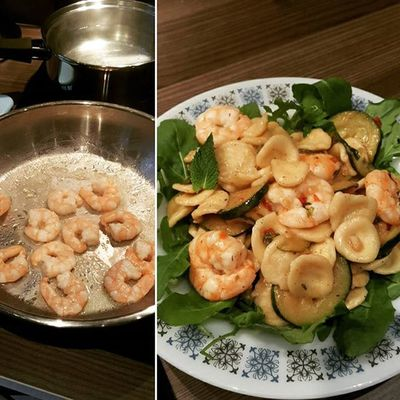 Orecchiette with Prawns and Courgette. Amazing Summerdish combines the crisp flavours of lemon, mint and rocket with fresh Prawns and a dash of Chilli . Healthychoices Homemade TheHealthMentor www.TheHealthMentor.co.uk