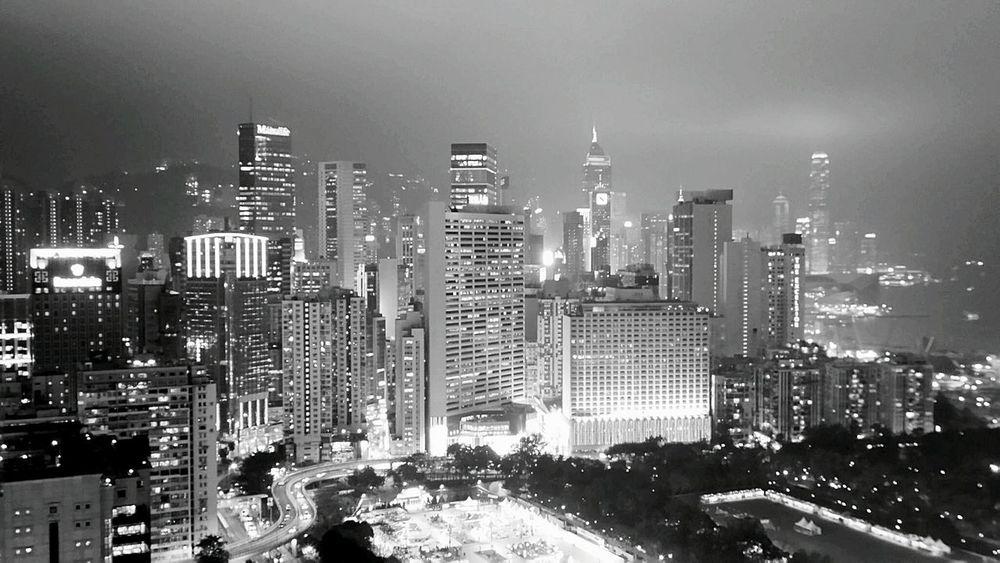Hong Kong 2015 Life In Hong Kong Hong Kong Harbour Hong Kong Skyline Nightphotography Monochrome Night Lights Cityscape Lights Hongkong Photos