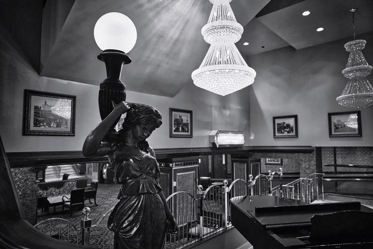 The Claridge Hotel Indoors  Lighting Equipment Illuminated Statue One Person Day Claridge Hotel Atlantic City Blackandwhite Bnw Bnw_collection Bnwphotography Blackandwhite Photography