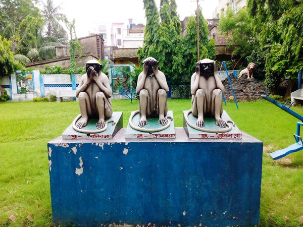 "3 Inspirational Monkeys Of ""Mahatma Gandhi"". 3 GreatMonkeys Architecture Art Built Structure City Day Grass Grassy Great Story Great Teachers Great Teachings Green Color Growth Indiapictures Inspirational Monkeys Lawn Lifestyles Mahatma Gandhi Moral Story My Memories Nature Outdoors Park Sky Tree"