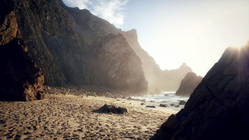 Portugal Sunlight Ursa Wave Beach Beauty In Nature Cabo Da Roca Day Landscape Mountain Nature No People Ocean Outdoors Rock - Object Sand Scenics Sky Sunlight Sunset Tranquility Ursa Beach Water