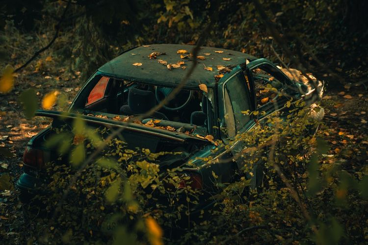 Close-up of abandoned car on field