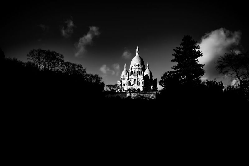 Paris Sacre Coeur Basilica Montmartre Monument Architecture 18eme Low Angle View Hill Landscape Cityscape Large View  Trees Light And Shadow Bnwphotography Bnw_city Bnwmood BNW PARIS Bnw Blackandwhite Photography Blackandwhite EyeEm Best Shots - Black + White From My Point Of View EyeEm Best Edits EyeEmBestPics EyeEm Selects EyeEm Gallery EyeEmNewHere EyeEm Best Shots