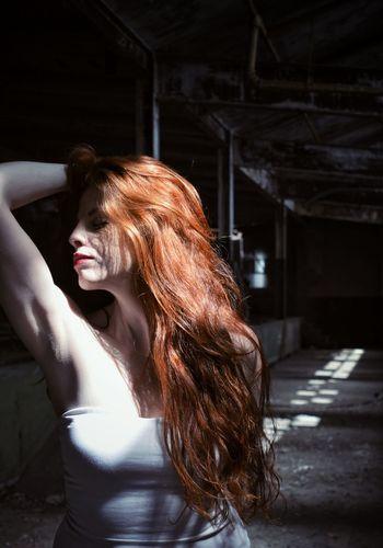 Light Shower Light Abandoned Light Play Natural Light Portrait Romantic Feminine  Strength Women Redhead Young Women