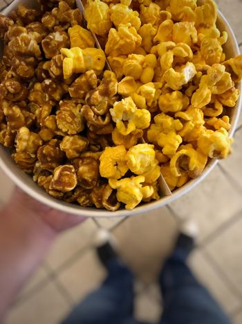 Yep, 'Gourmet Popcorn Duo' it is! [Salted Caramel & Cheddar] ;-) Cheddar Caramel Popcorn Freshness Food And Drink Food High Angle View Indoors  Close-up Bowl