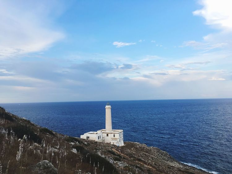 Tranquility Idyllic Built Structure Architecture No People Tranquil Scene Cloud - Sky Sea Beacon Lighthouse Puglia South Italy Puglia Faro Palascia Palascia Palascia Beacon