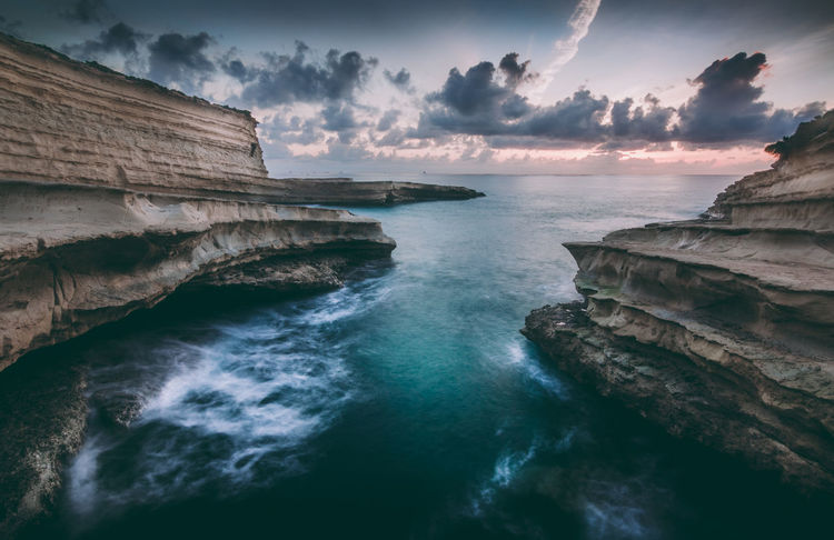 Beauty In Nature Cliff Cloud - Sky Day Horizon Over Water Long Exposure M Malta Mood Nature No People Outdoors Scenics Sea Sky St Peter's Pool Sunrise Tranquil Scene Tranquility Water Waterfront