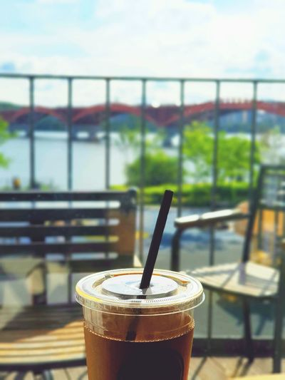 Cellphone Photography Coffee Coffee Cup River Riverside River View Han River Han River Bridge Han River Bridge In Seoul Han River Park Han River Bridge Cafe Drink Frothy Drink Drinking Glass Drinking Straw Table Latte Coffee - Drink Liqueur Cafe