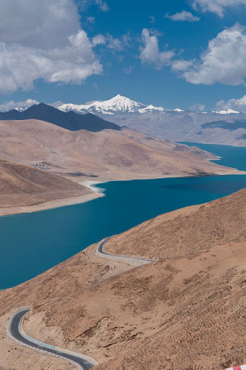 Scenic view of lake and desert landscape
