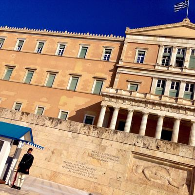 The Hellenic guard in front of the Parliament.