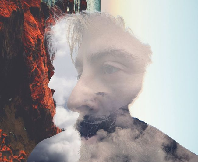 Double exposure image of man