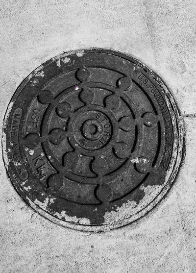 Directly above shot of text on manhole
