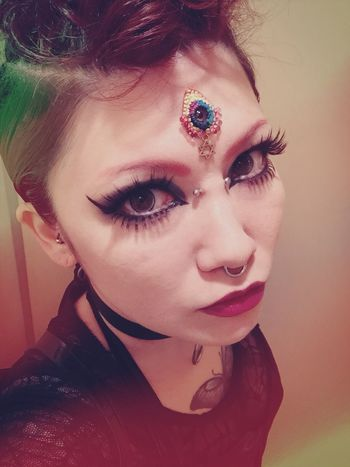 Gothic Style Gothic Goth Mixed Girl Tattoo Self Portrait Black Eyelash Augen Eyes Septum Devil Demon Fetish ThatsMe Party Makeup Mohawk Bindi ThirdEye Young Adult Real People Looking At Camera One Person Portrait Young Women Lifestyles Beautiful Woman
