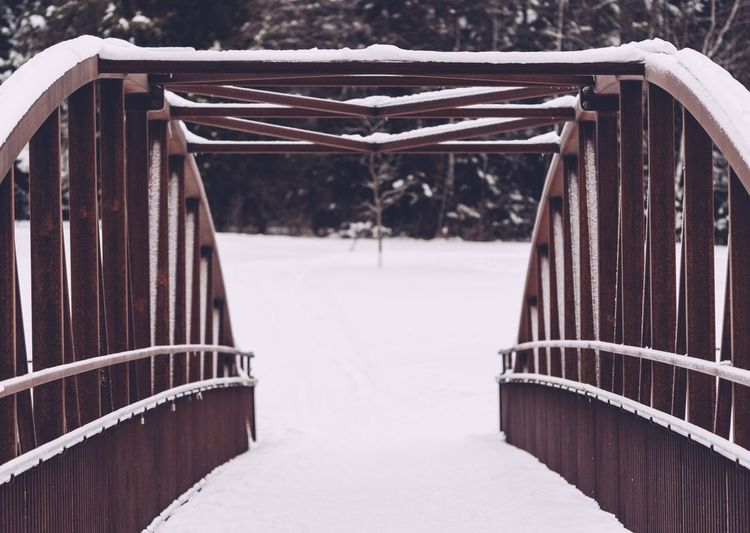 The other side Winter Snow Cold Temperature Railing The Way Forward Nature Direction Day No People Architecture Bridge Covering Built Structure Footbridge Connection Outdoors White Color Snowing