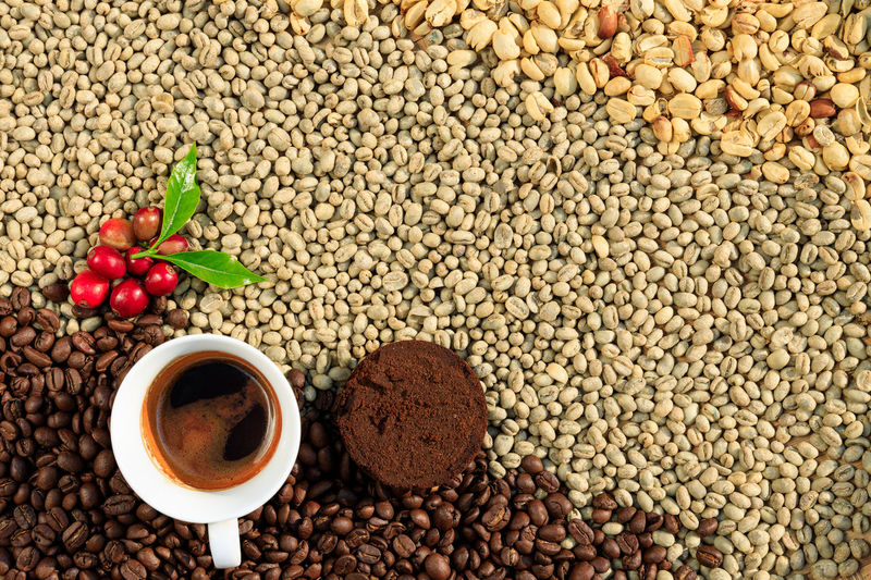 High angle view of coffee