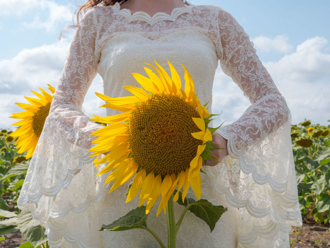 Beauty In Nature Bouquet Bridal Bride Close-up Cloud Cloud - Sky Day Flower Flower Head Freshness Gh5 Leica Marriage  Married Nature One Person Outdoors Panasonic  Petal Plant Sky Sunflower Wedding Yellow