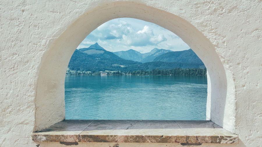 Lake seen through arch