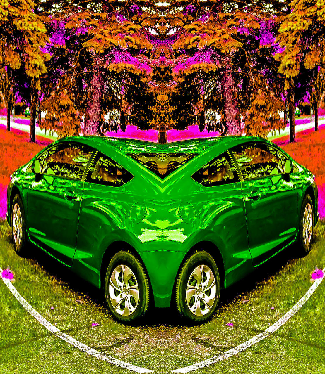 car, transportation, land vehicle, green color, celebration, outdoors, tree, day, multi colored, no people