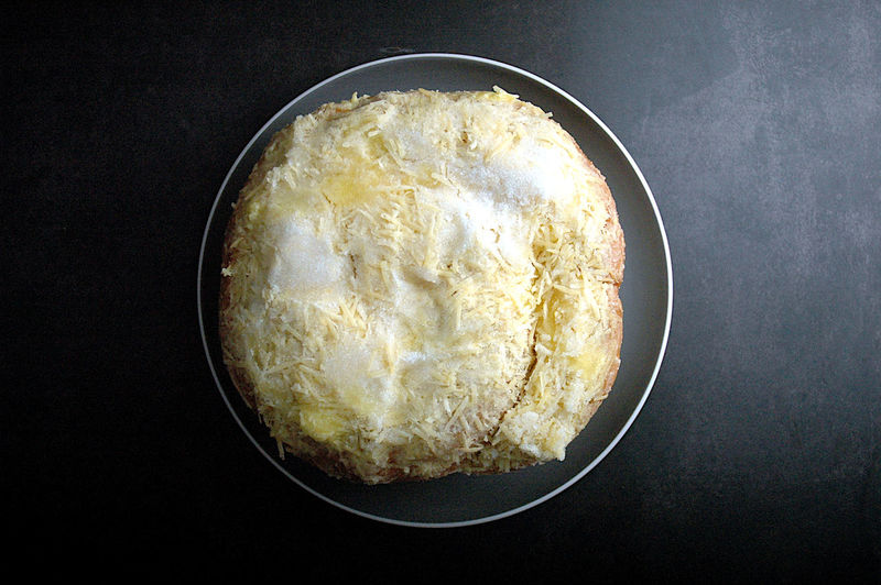 High angle view of bread in bowl