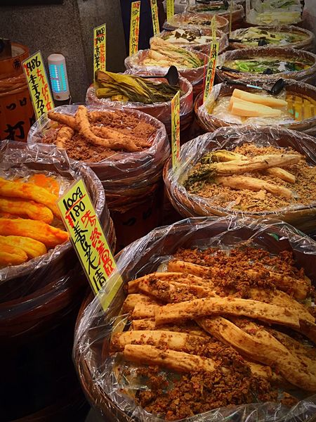 Nishiki Market Kyoto japanese asian Food Food And Drink Variation Choice Retail  No People Market Outdoors Day Price Tag Freshness Healthy Eating Close-up Visual Feast