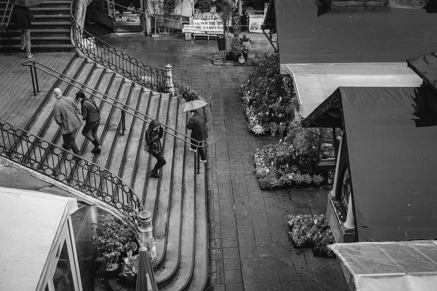 Coming down Architecture Architecturelovers Day High Angle View Market Marketplace Mercado Do Bolhão Monochrome Photography Old People Rain Rainy Days Stairs Stairway Town