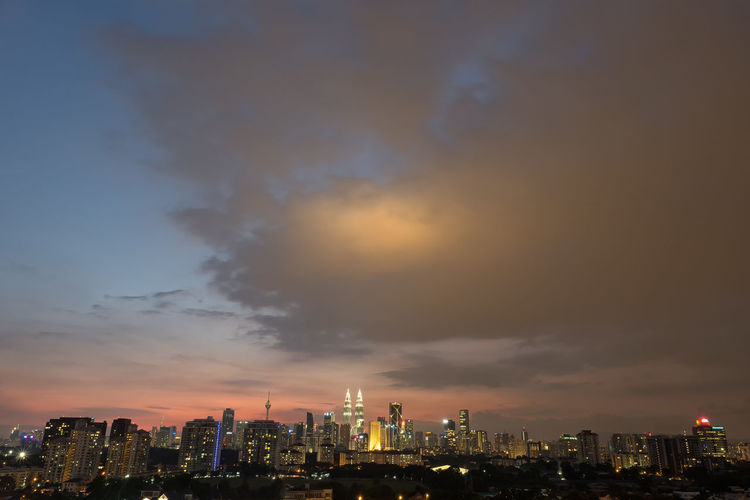 Kuala Lumpur city skyline during blue hour Architecture Built Structure City Skyline Cityscape Cityscapes Dusk Colours Dusk In The City Illuminated Klcc Kuala Lumpur Kuala Lumpur Tower Kuala Lumpur Twin Towers Urban Skyline Wide Shot Battle Of The Cities TakeoverContrast HUAWEI Photo Award: After Dark